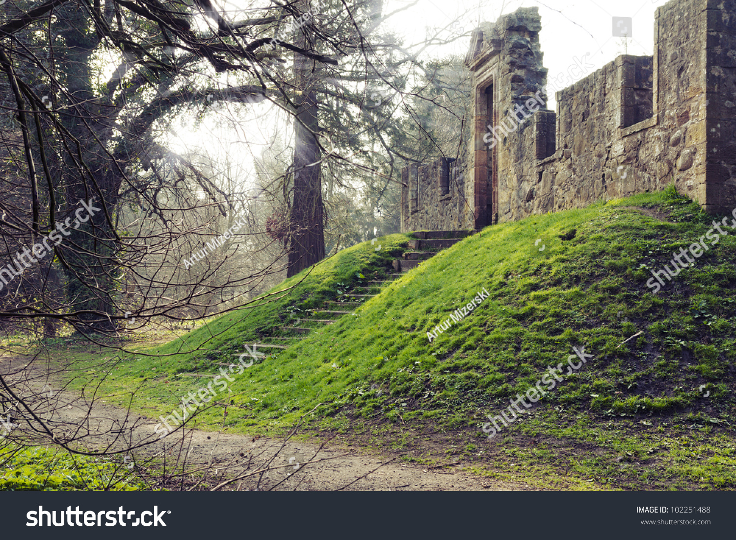 Wood Elevation Edinburgh : Ancient temple on the terrain elevation surrounded by