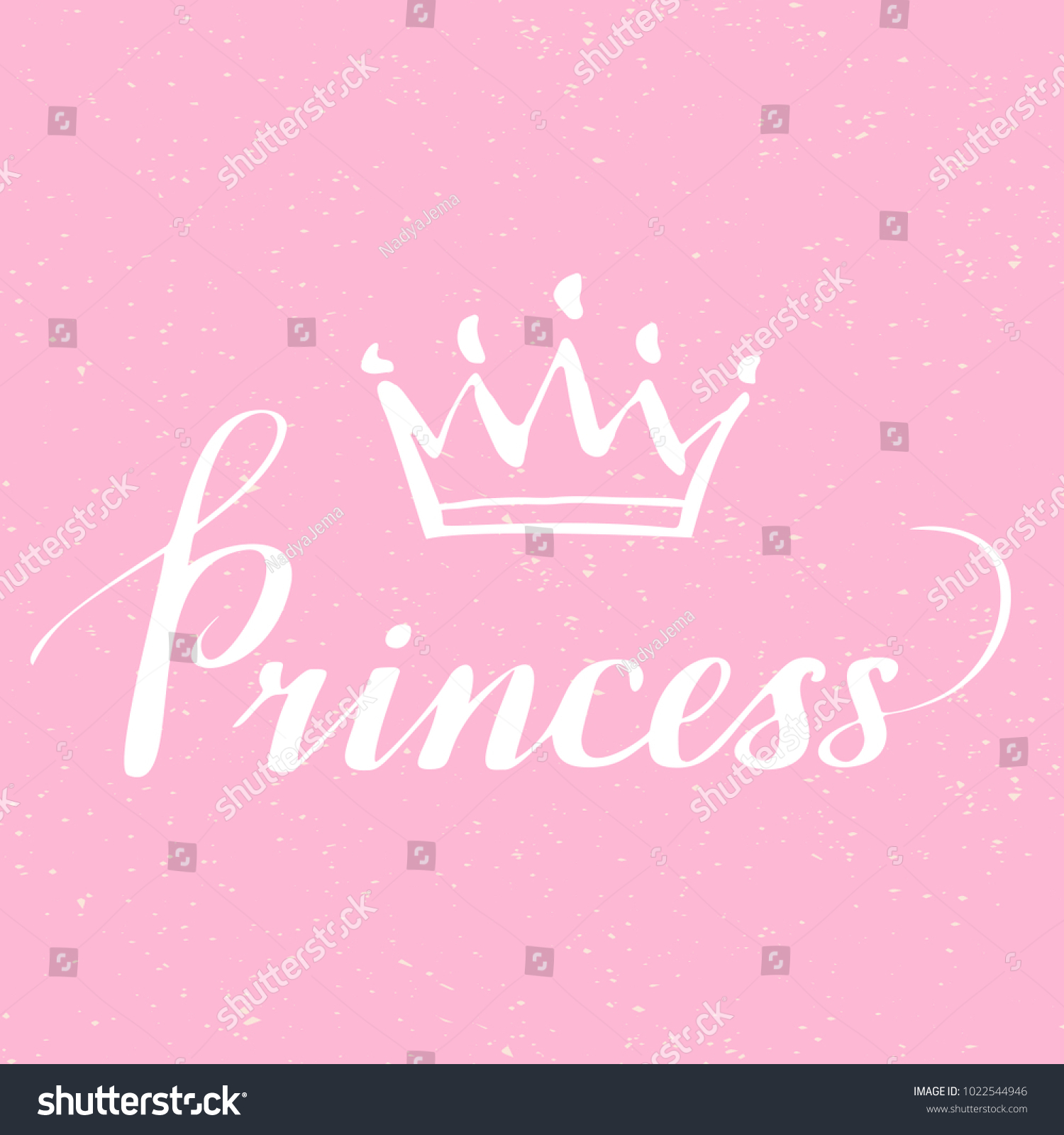 Hand Lettering Word Princess Background Crown Stock Vector