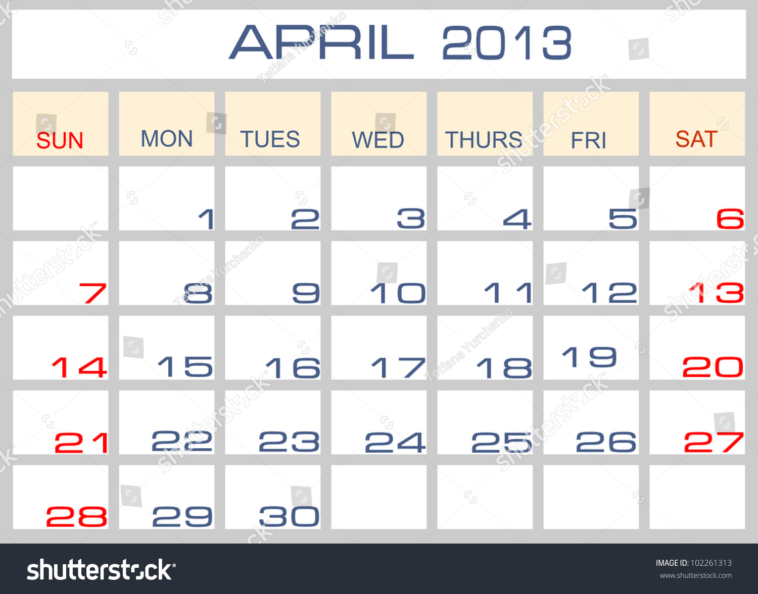 Calendar April Vector : Vector calendar april  shutterstock