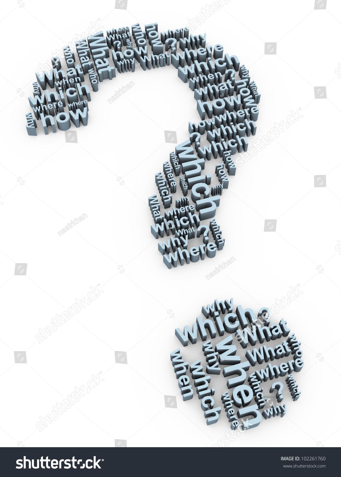 3 D Render Question Mark Words Symbol Stock Illustration 102261760
