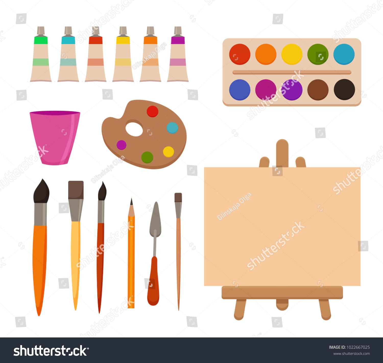 Painting Tools Elements Cartoon Colorful Vector Stock Vektorgrafik