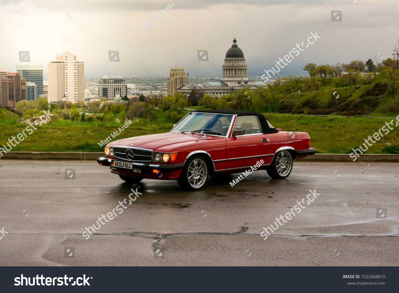 Salt Lake City, UT, USA   April 21 2017: Red 1988 Mercedes Benz