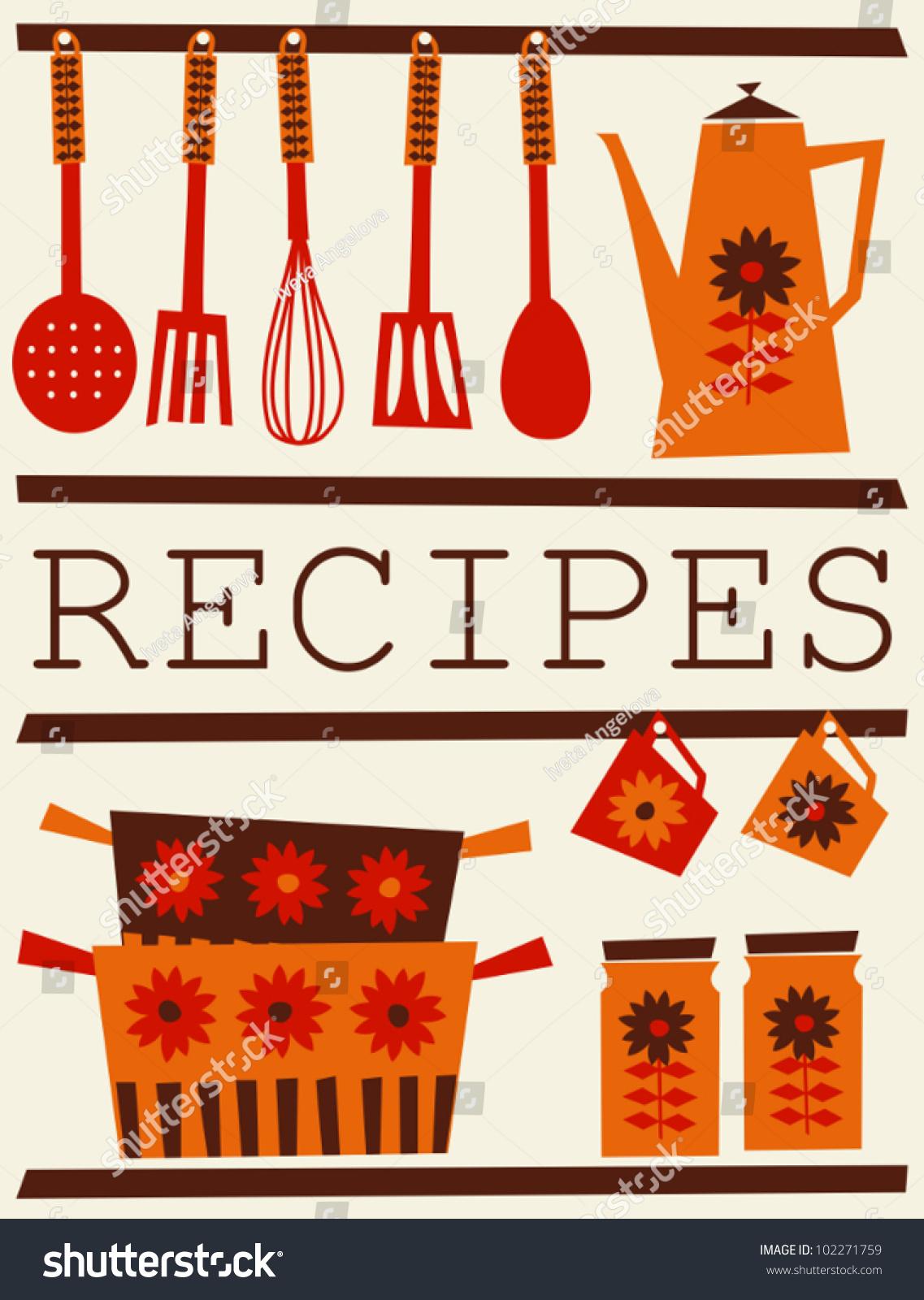 Illustration kitchen accessories retro style recipe stock for Kitchen design vector
