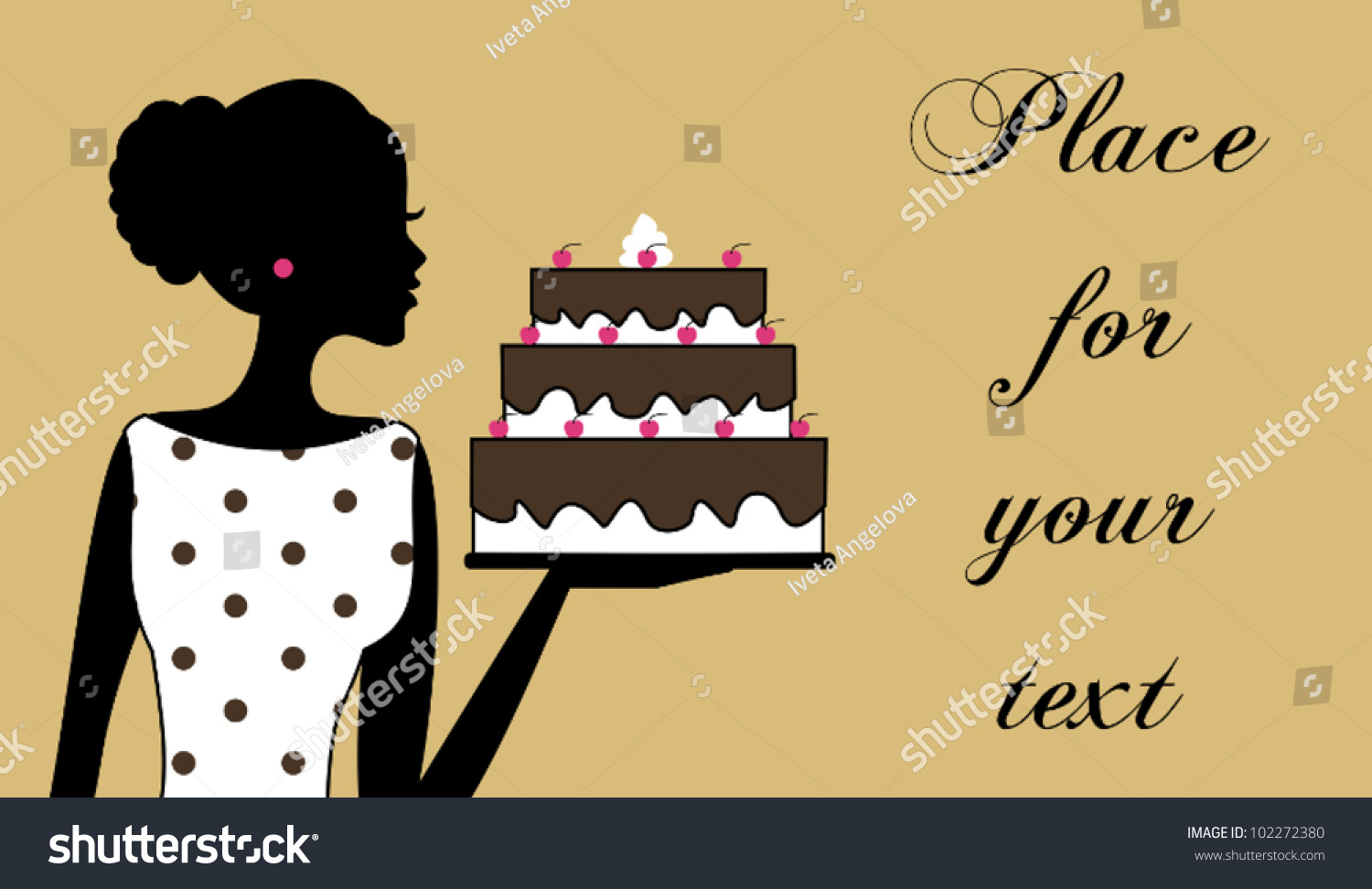 Illustration Of A Woman Holding A Cake. Business Card/Recipe Card Template.