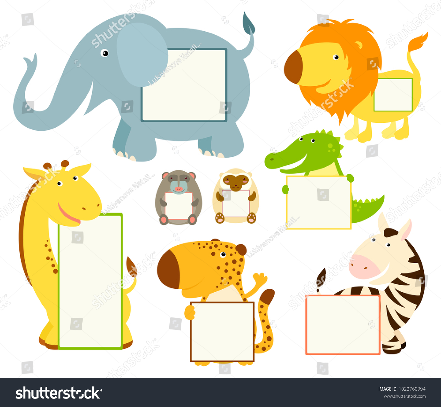 set of cute african animal memo pads labels for scrapbooking vector template card for