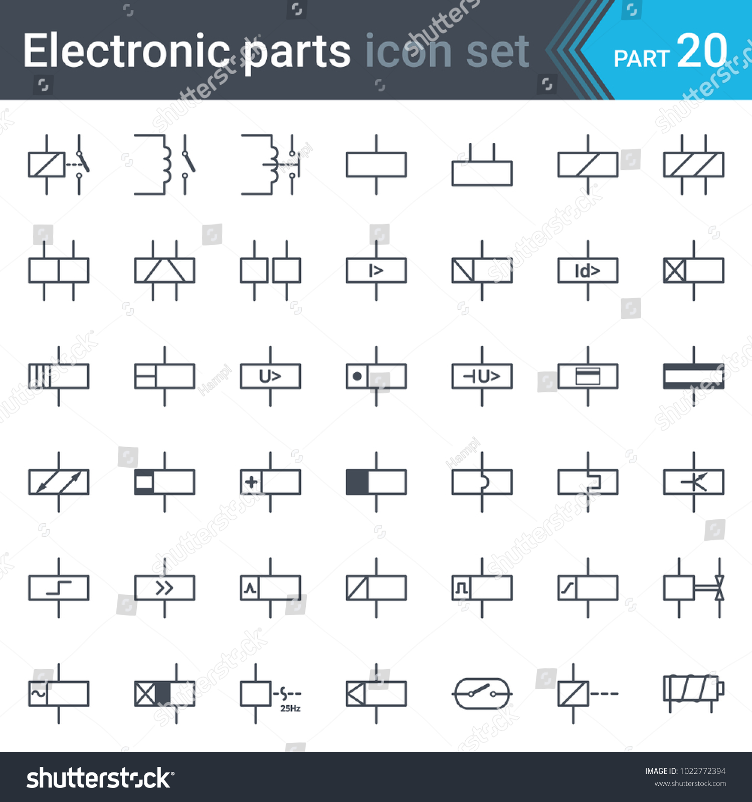 Complete vector set of electric and electronic circuit diagram symbols and  elements - relays and electromagnets