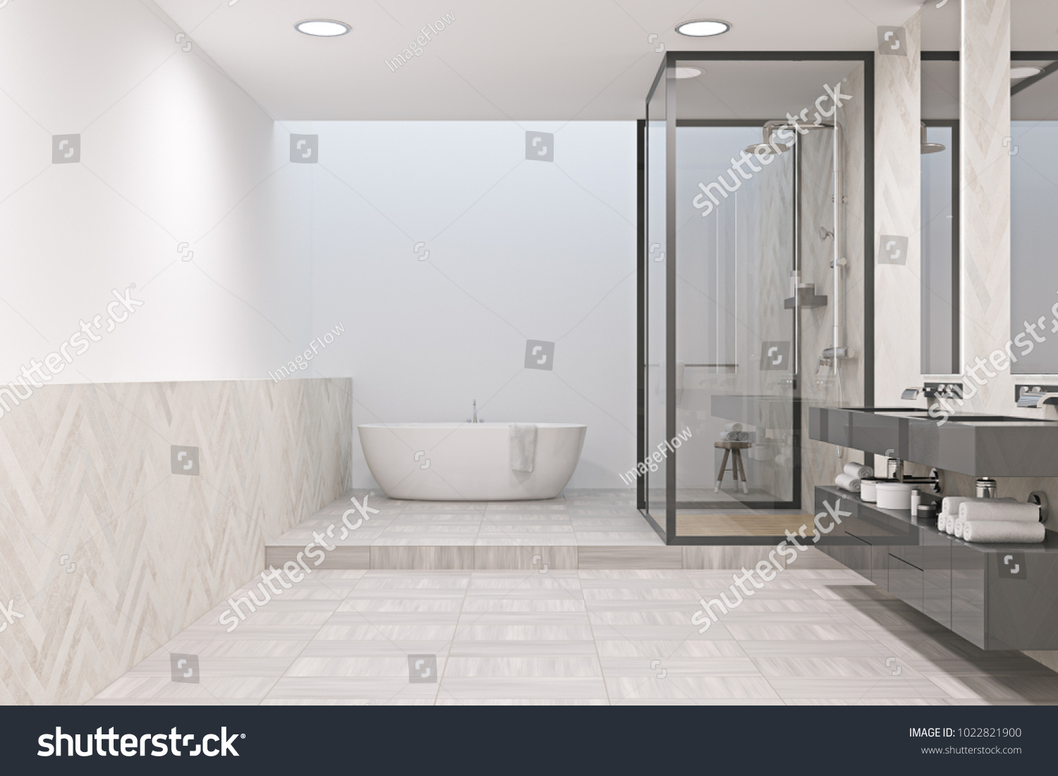 White bathroom interior with a tiled floor, a white tub, a shower ...