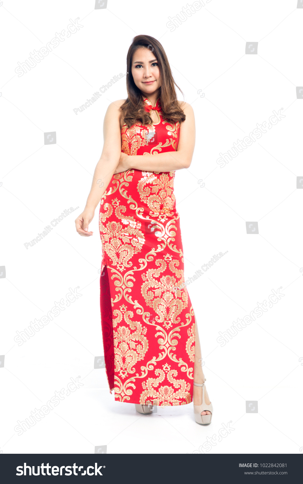 Beautiful Asian Woman Traditional Red Chinese Stock Photo (Edit Now ...