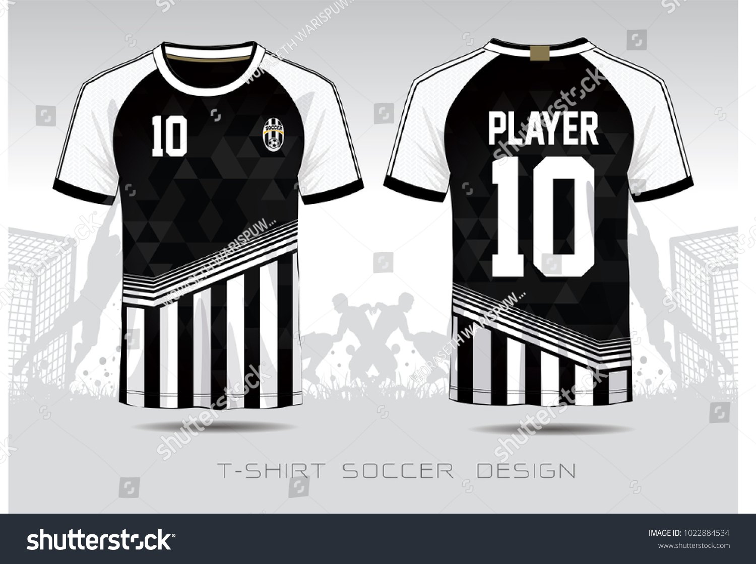 Soccer Jersey Fabic Black White Layout Stock Vector Royalty Free