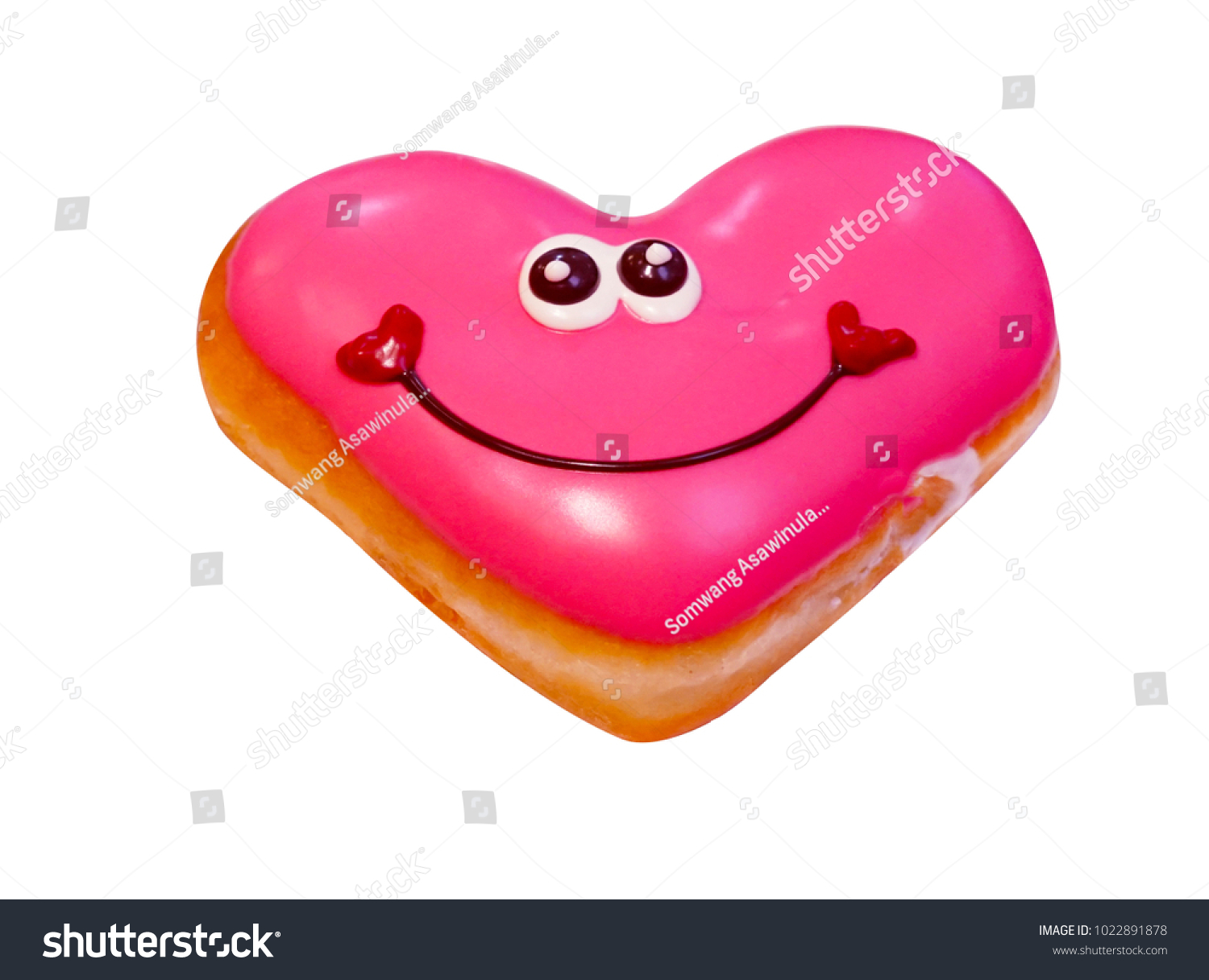 donut love heart valentine white background isolate clipping paths #1022891878