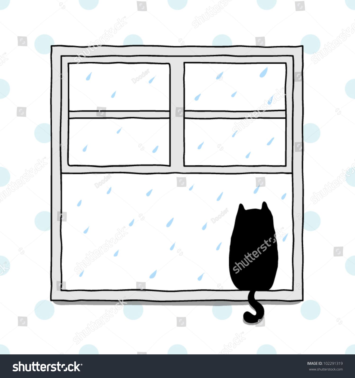 Cartoon kitchen with cabinets and window vector art illustration -  Vectors Illustrations Footage Music Cat Looking Out Of A Window At The Rain
