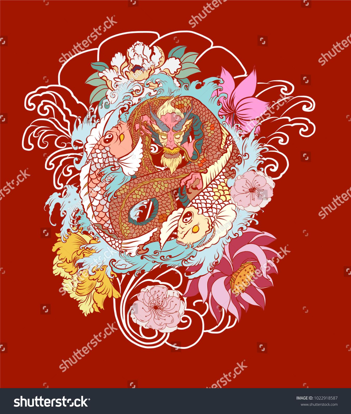 Dragon Two Koi Carp Yinyang Symbolhand Stock Photo (Photo, Vector ...