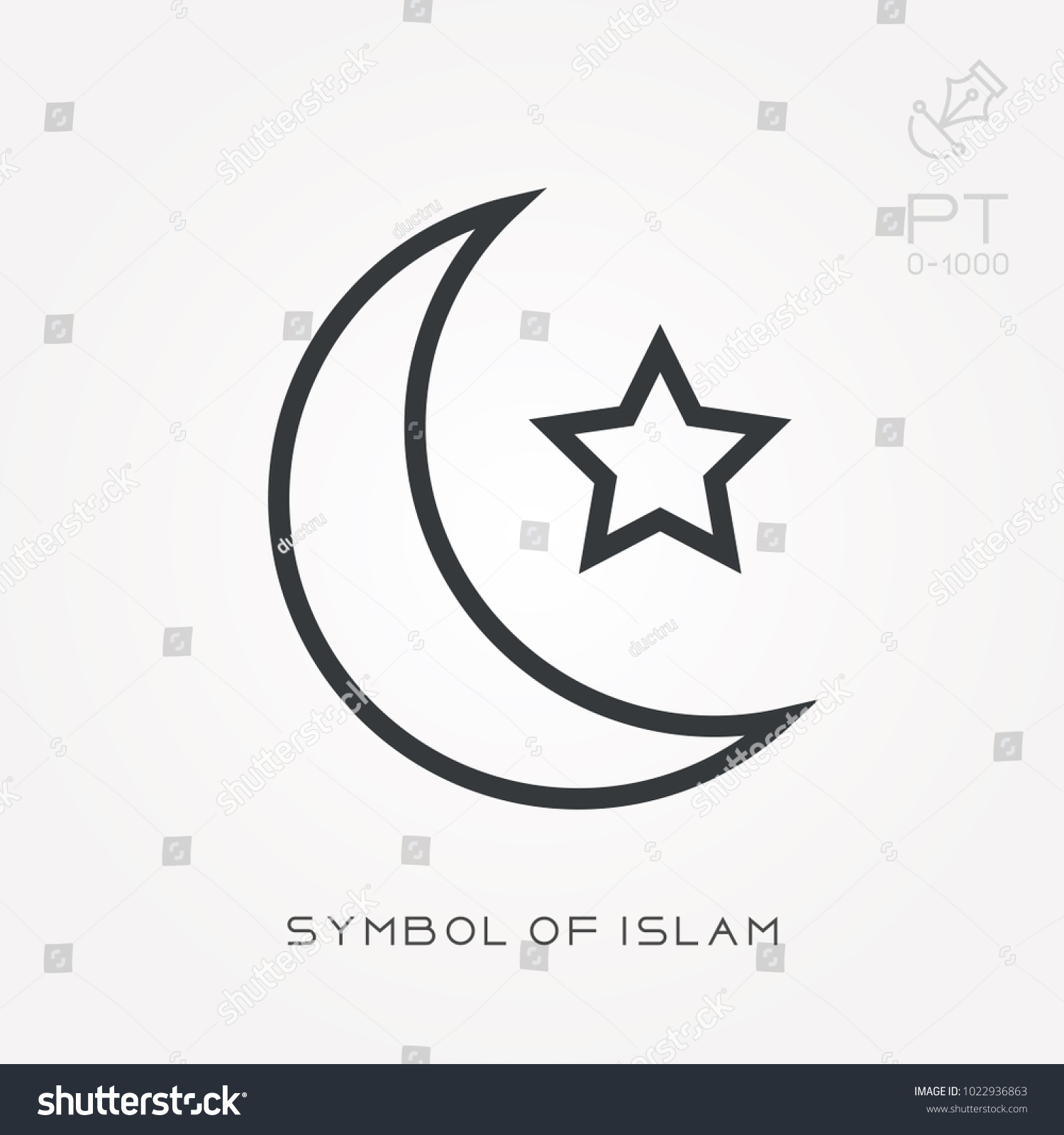 Line Icon Symbol Islam Stock Vector Royalty Free 1022936863