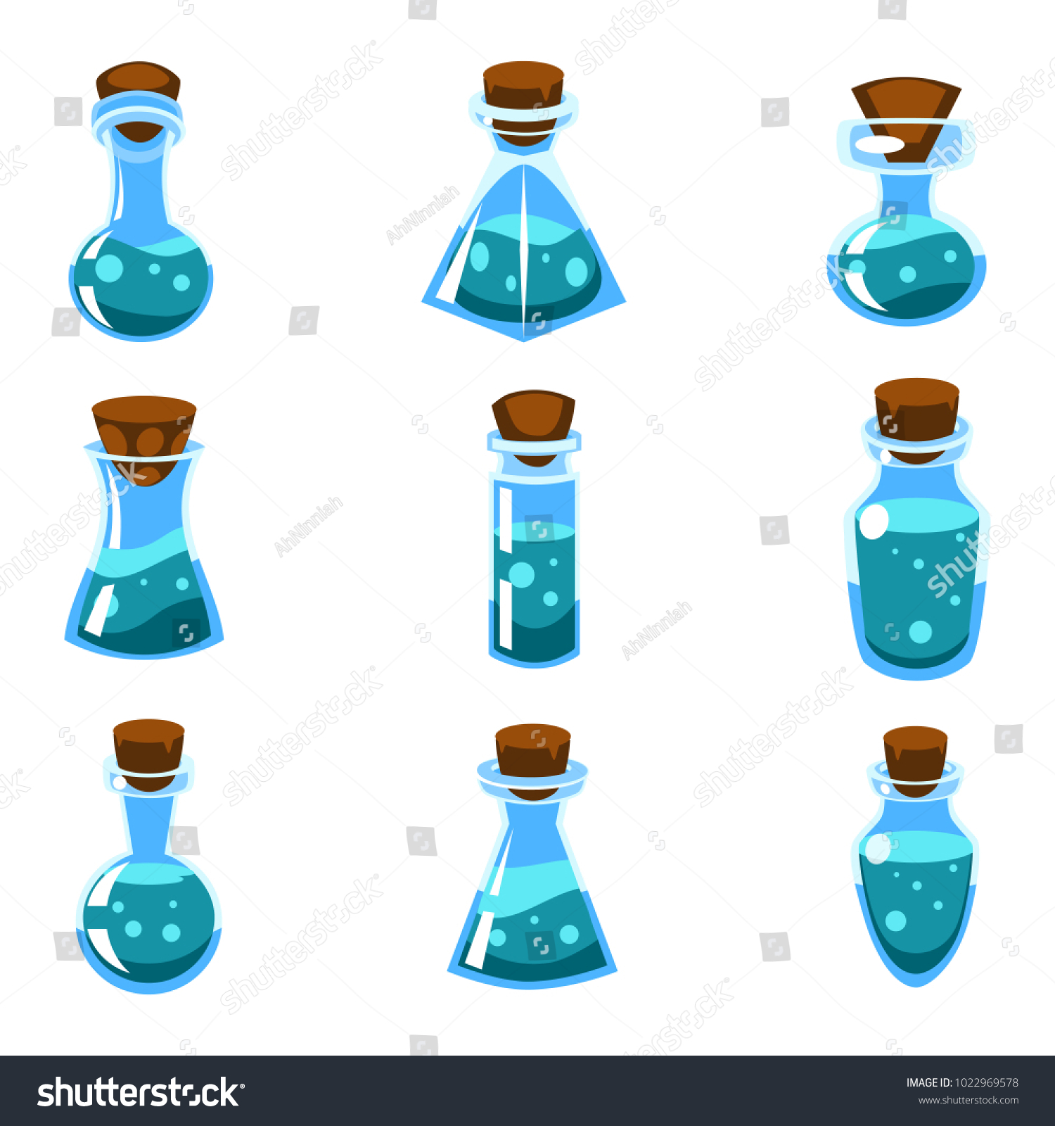 Set of cartoon vector blue potions in bottles of different shape for a game