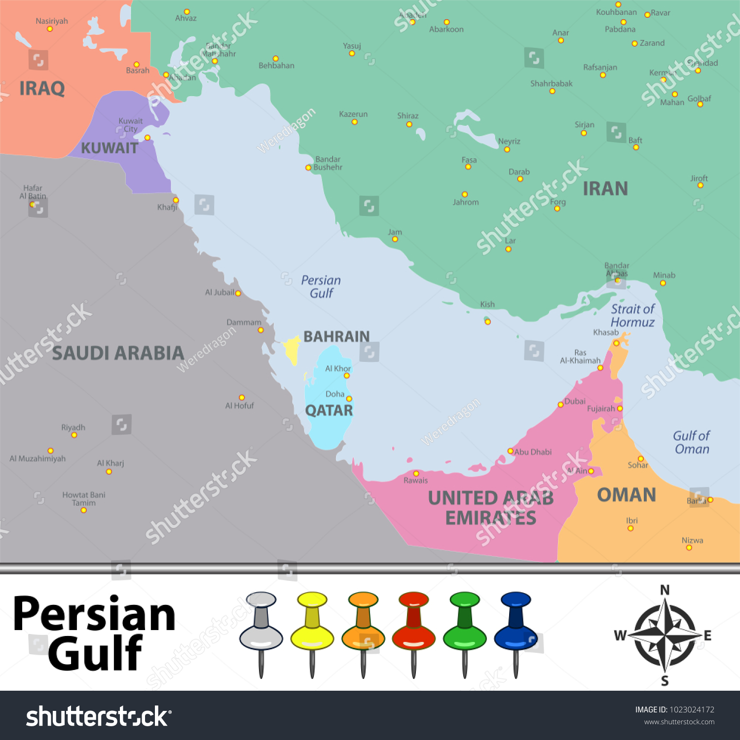 Vector Map Persian Gulf Countries Big Stock Vector 1023024172