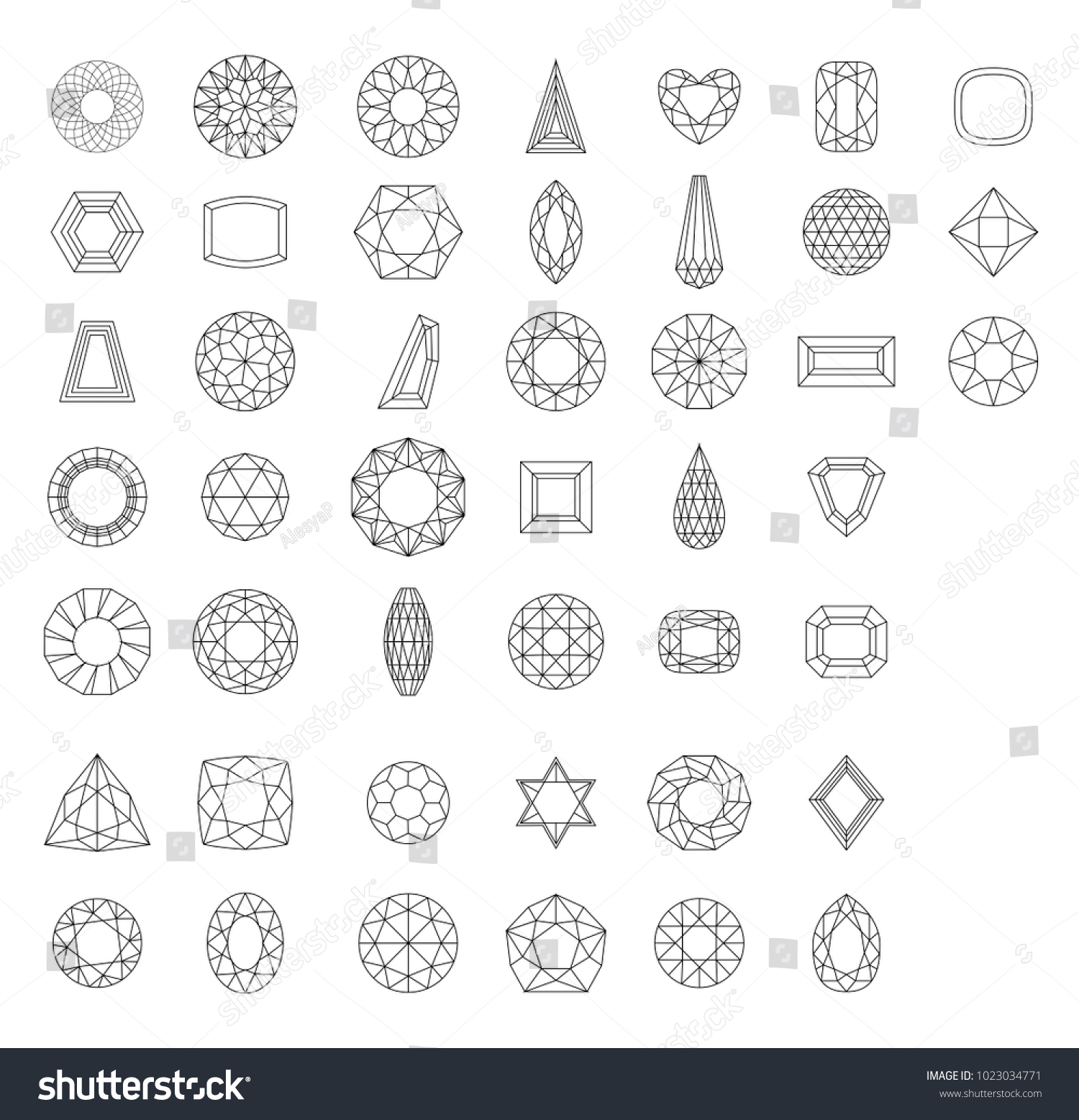 Different Gems Facets Types Stock Vector 1023034771 - Shutterstock