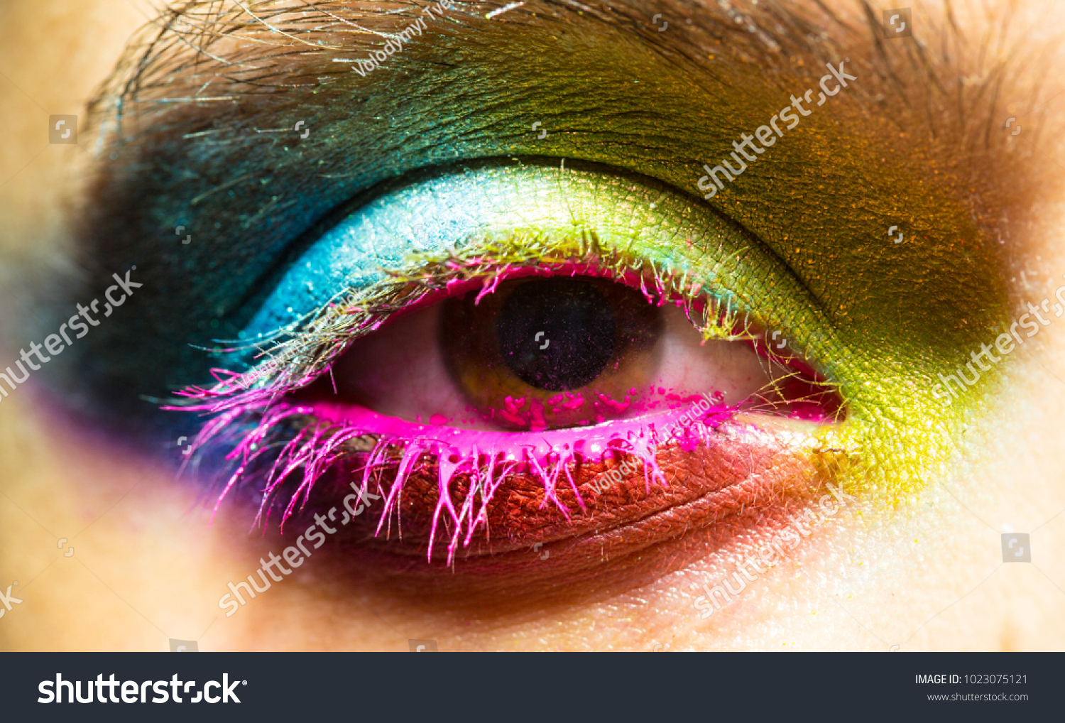 Eye Colorful Neon Paint Fashion Makeup Stock Photo Edit Now