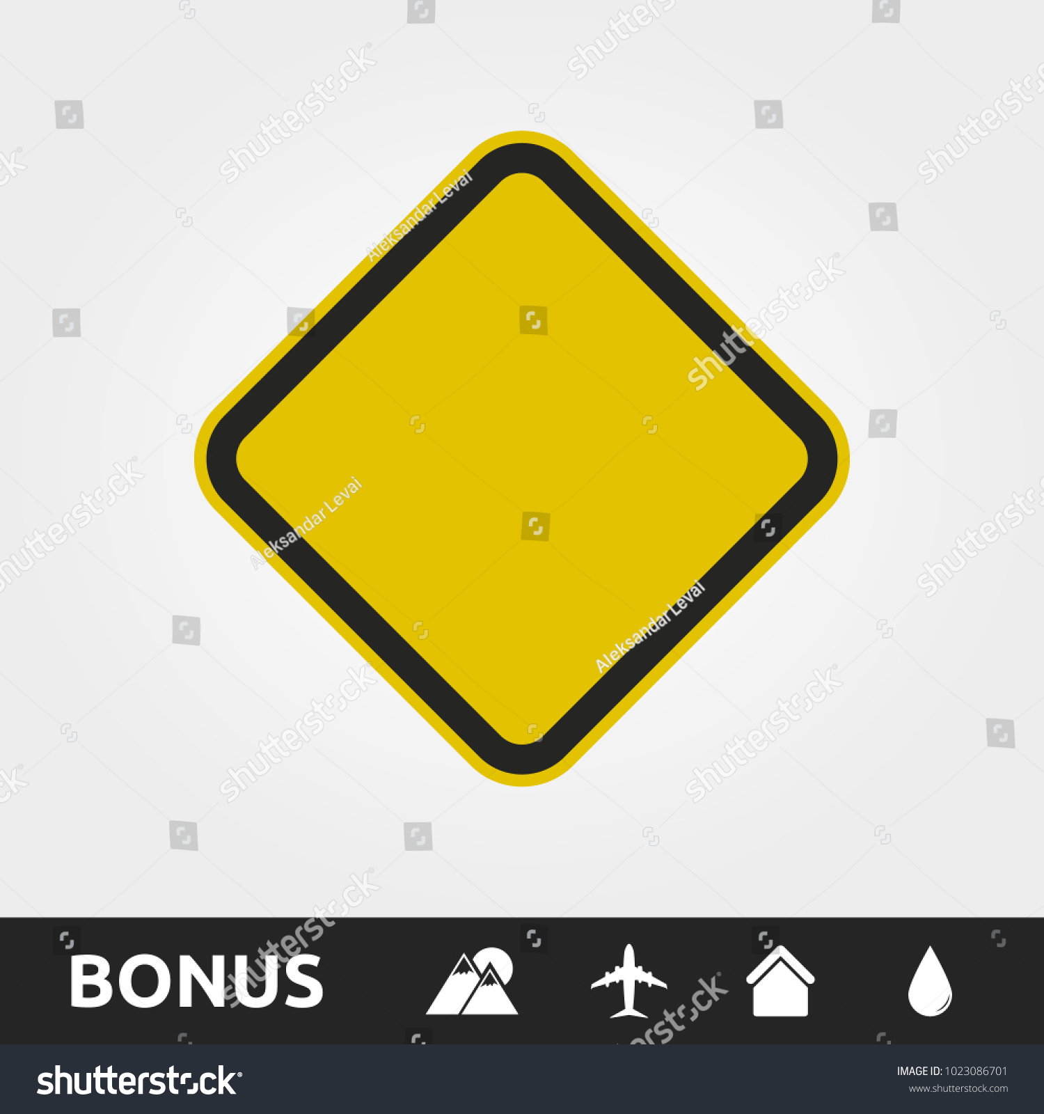 Blank Yellow Caution/Warning Square sign #1023086701