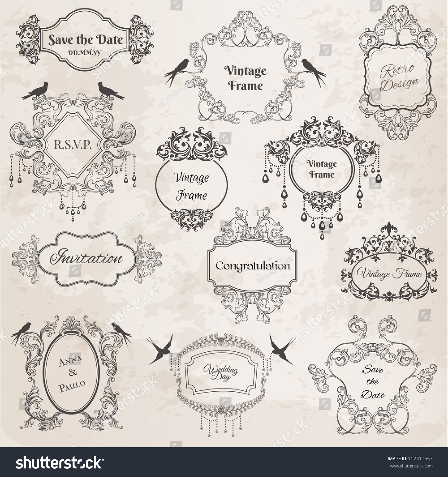 How to scrapbook a wedding invitation - Vintage Frames And Design Elements For Wedding Invitation Birthday Greetings Scrapbook