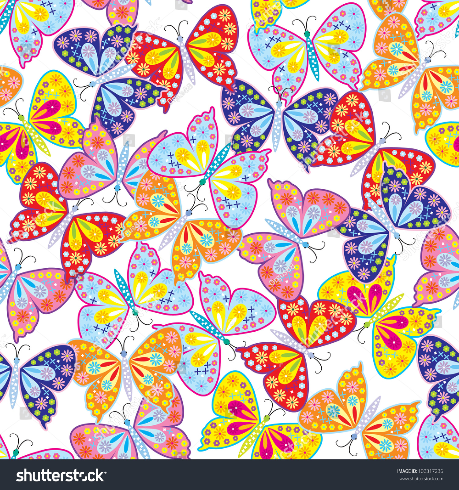 seamless pattern of butterfly amp flower stock vector