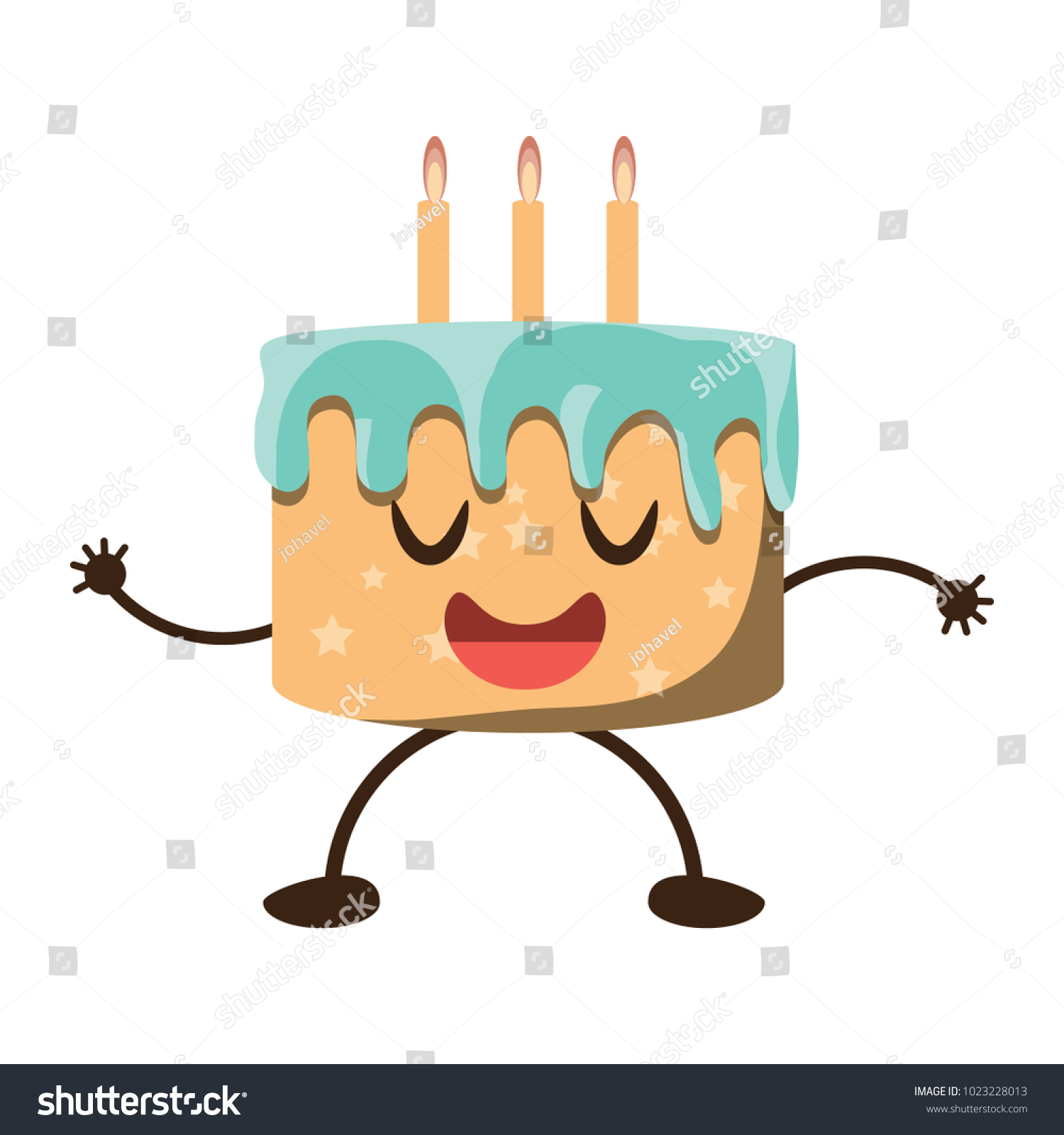 Kawaii Birthday Cake Icon Stock Vector 1023228013 Shutterstock