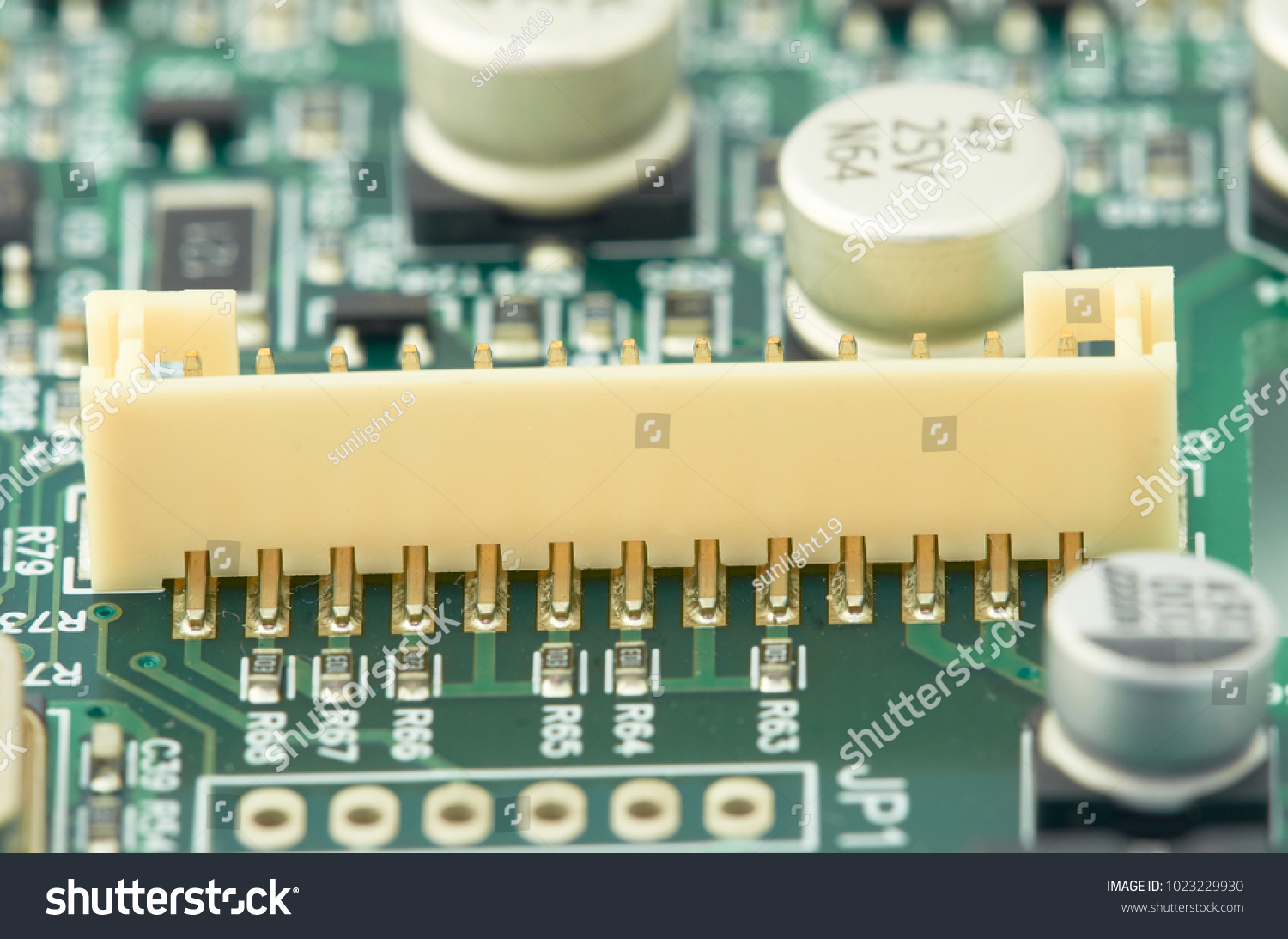 Stockfoto Printed Circuit Board Pcb Used In Industrial Electronic Stock Photo Edit Now With Processor Microchips And Glowing