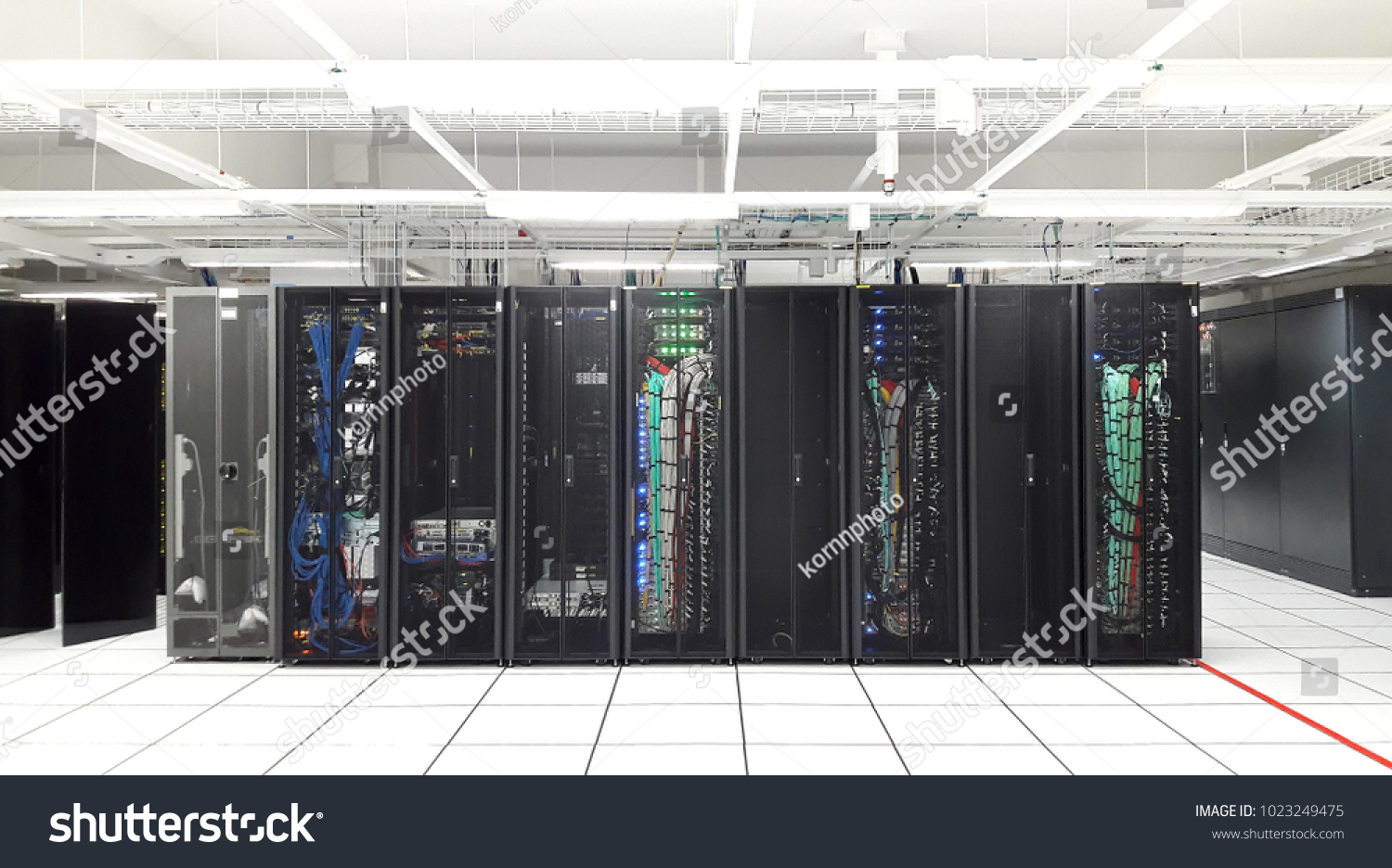 storage server backup for database computer with network technology and  wiring cable in open rack at