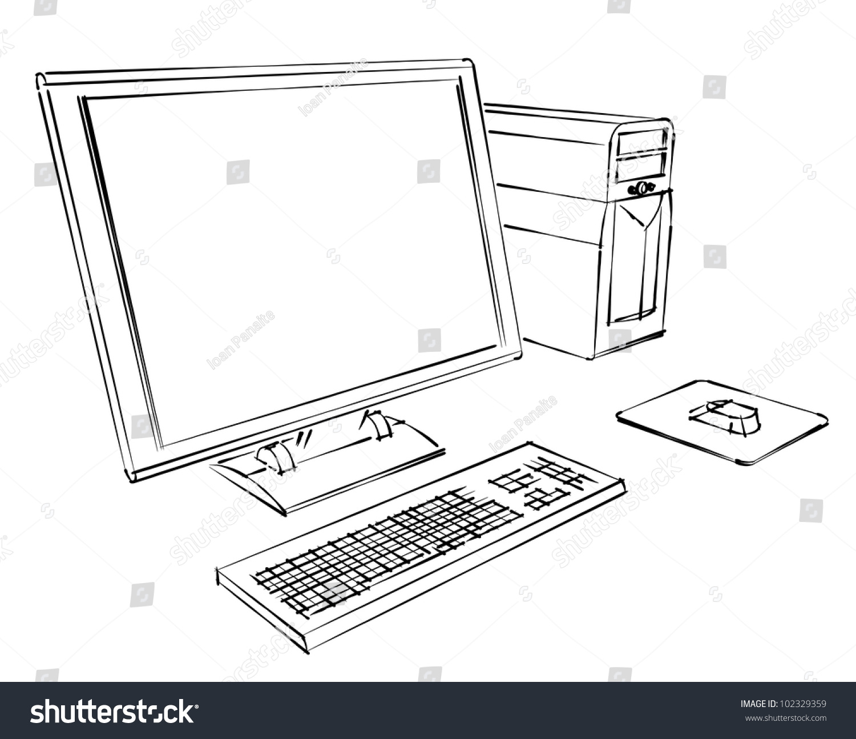 розмальовка компьютер в картинках