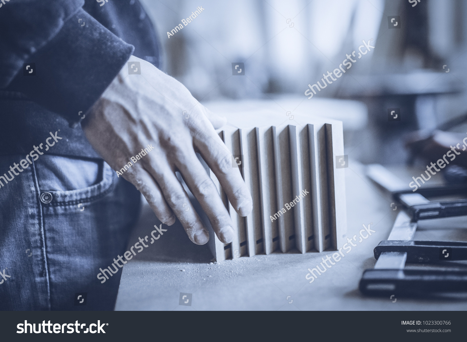 Carpenter Works On Woodworking Machine Tool Stock Photo Edit Now