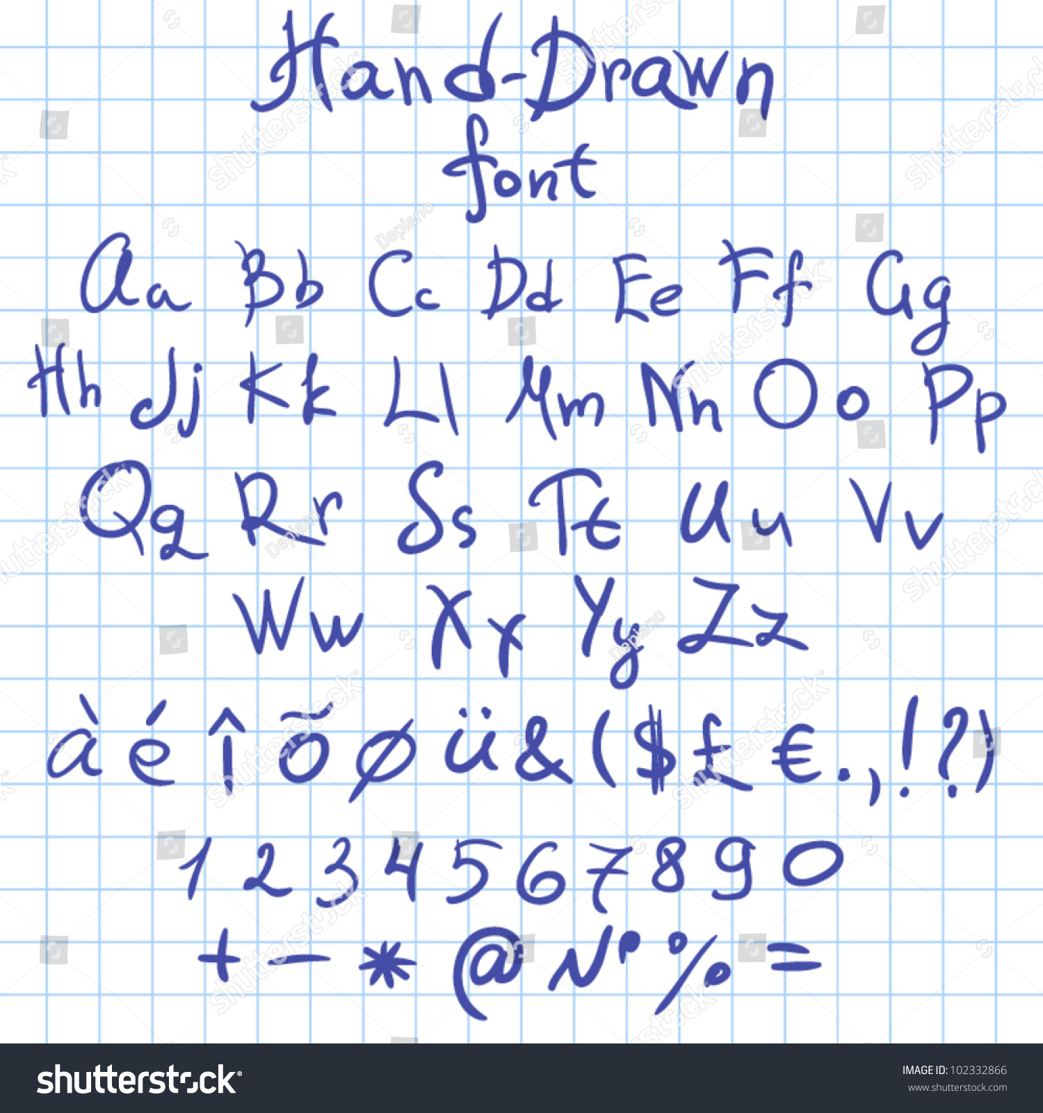 hand drawn font with all symbols doodle font vector letters set