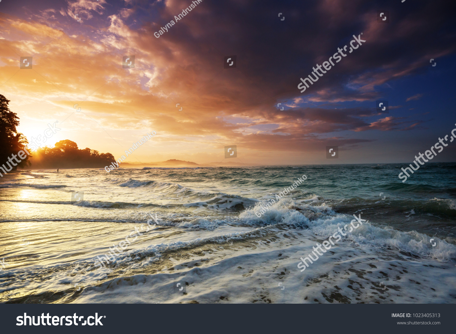 Scenic Colorful Sunset At The Sea Coast Good For Wallpaper Or