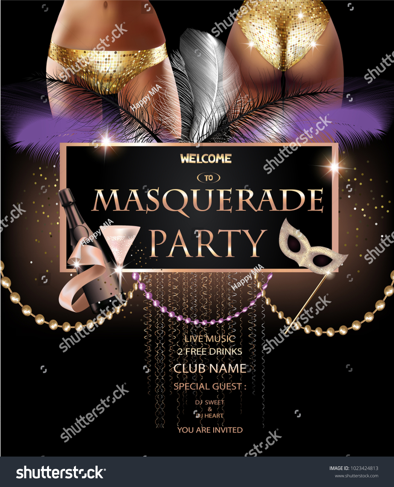 masquerade party invitation card party deco stock vector royalty