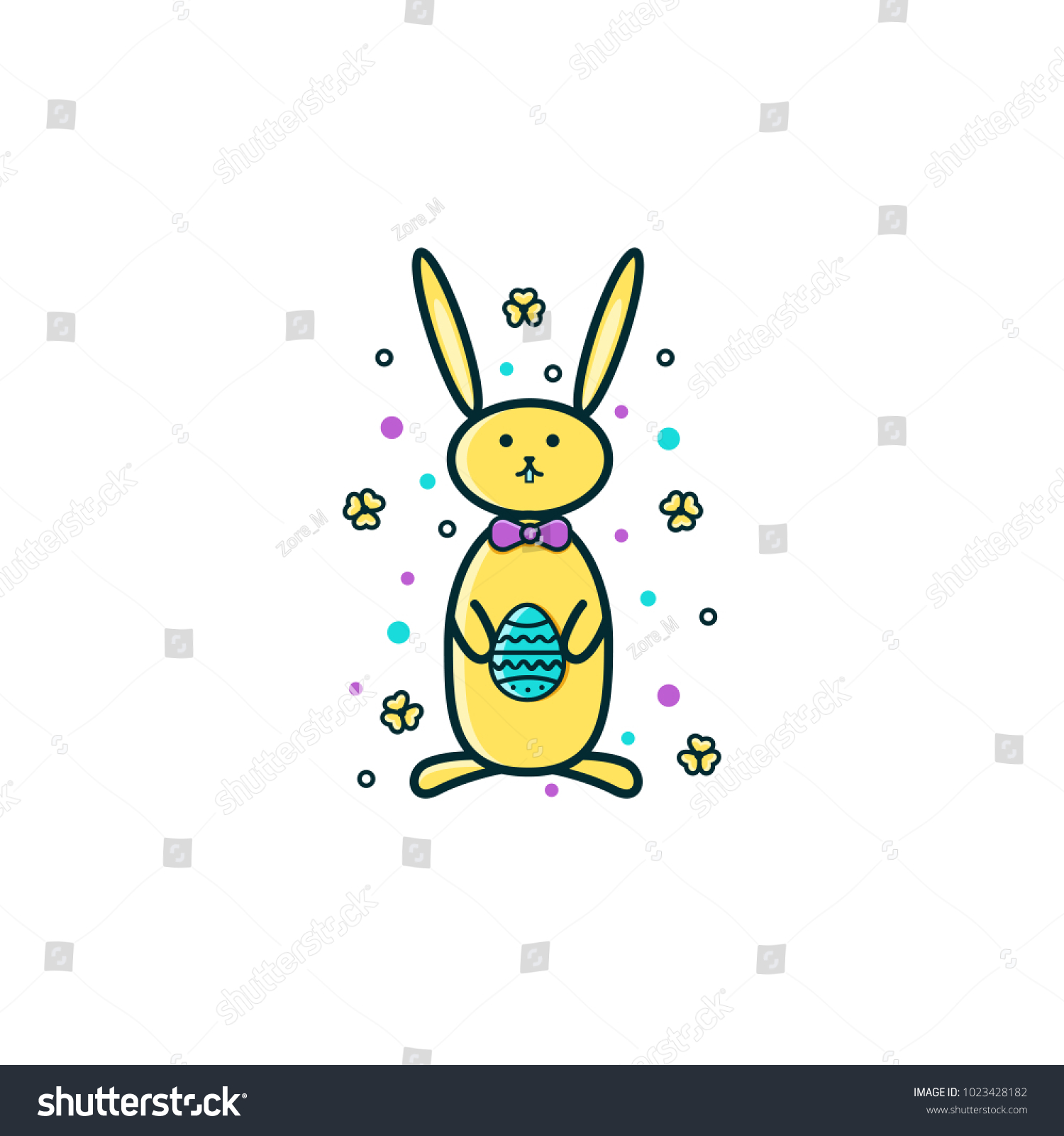 Easter Bunny Rabbit Hare Egg Symbols Stock Vector Royalty Free
