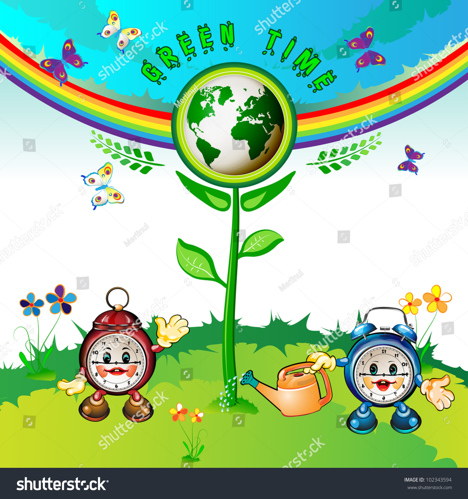 eco earth cartoon clocks flowers butterflies stock illustration