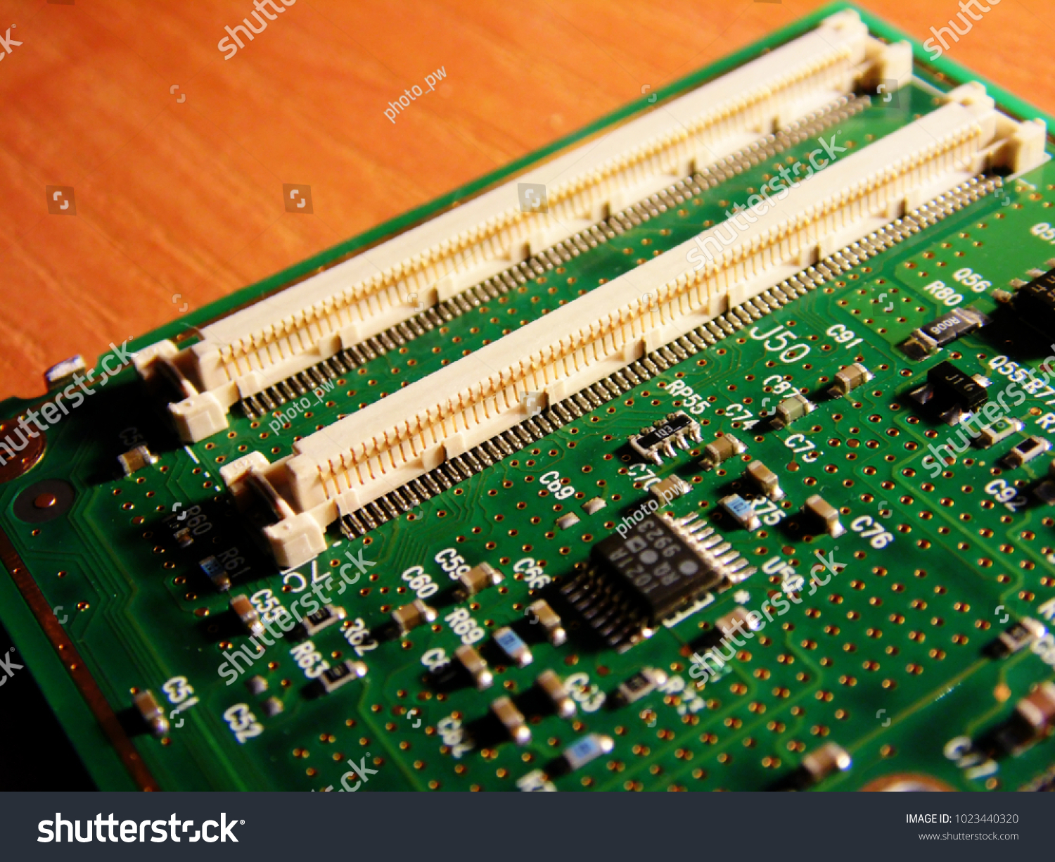 Macro Picture Green Printed Circuit Board Stock Photo Edit Now Stockfoto Pcb Used In Industrial Electronic Of