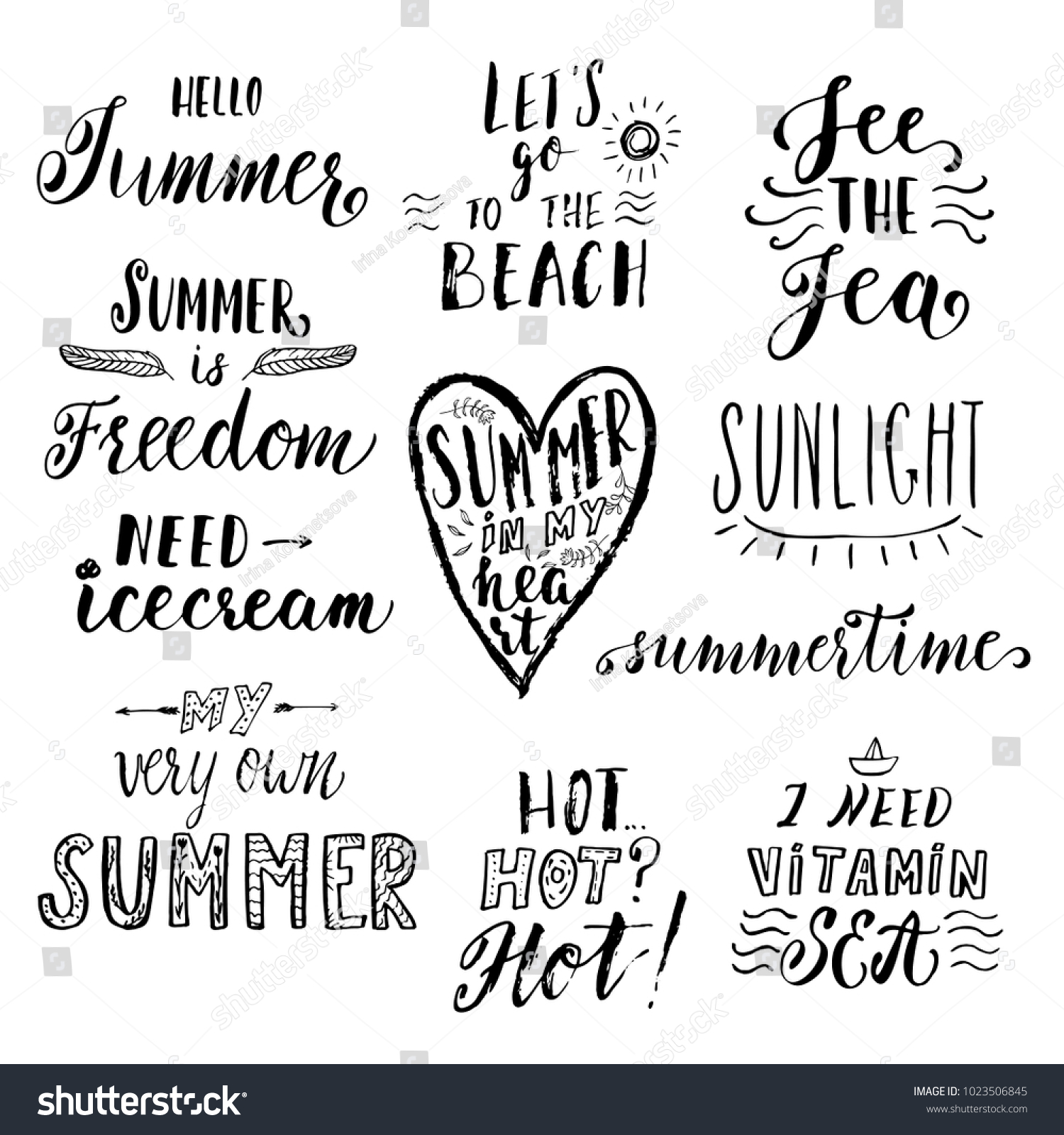 Summer Hand Drawn Lettering Inspirational Quotes Stock Vector