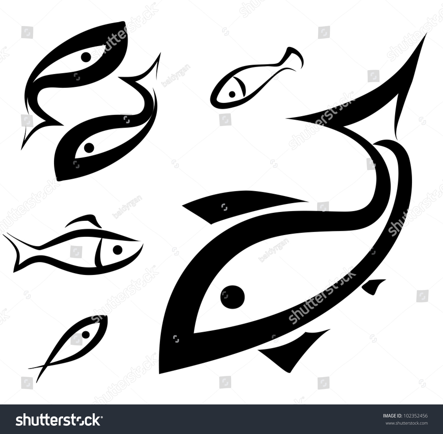 Logolike fish symbol set sketch simple stock vector 102352456 logo like fish symbol set sketch in simple black lines buycottarizona Gallery
