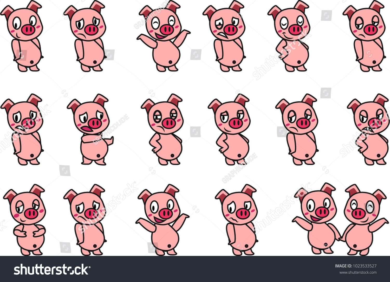 Cute pig expression cartoon sticker design