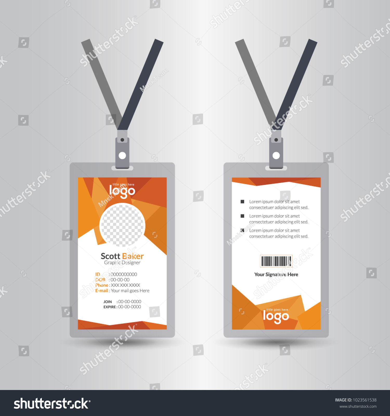identification card lanyard set isolated vector のベクター画像素材