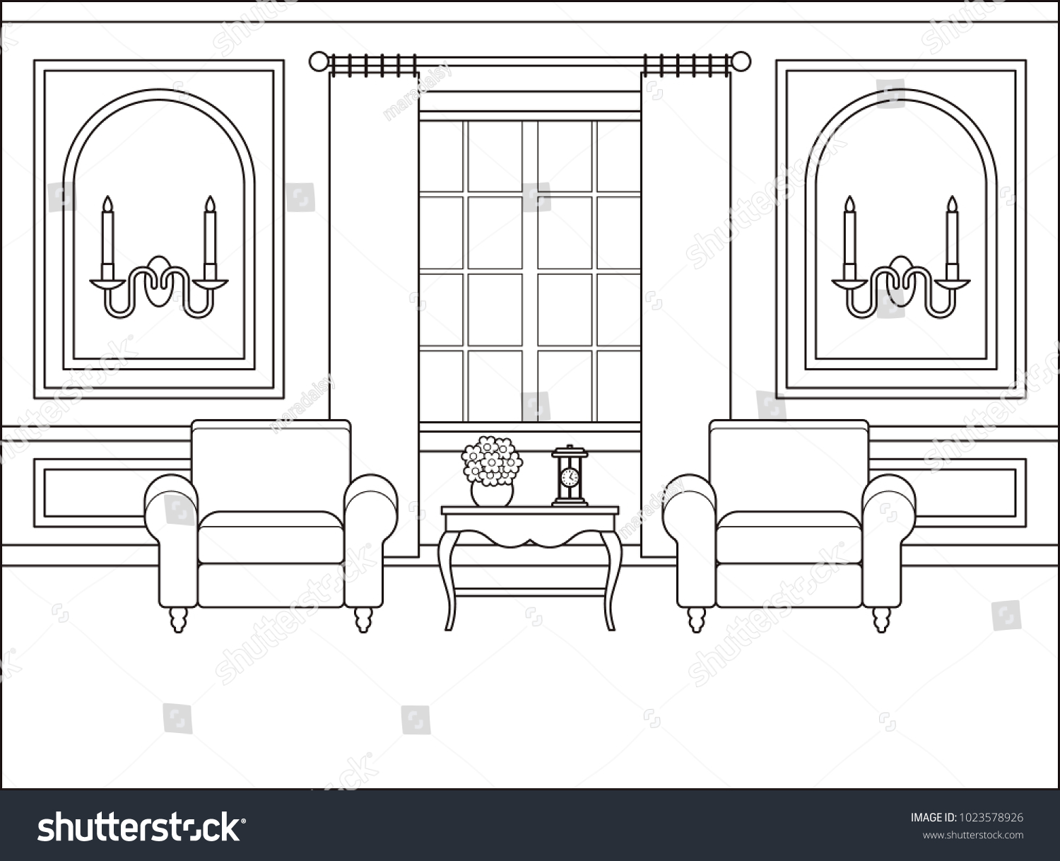 Room Interior Vector Outline Living Room Stock Vector 1023578926 ...