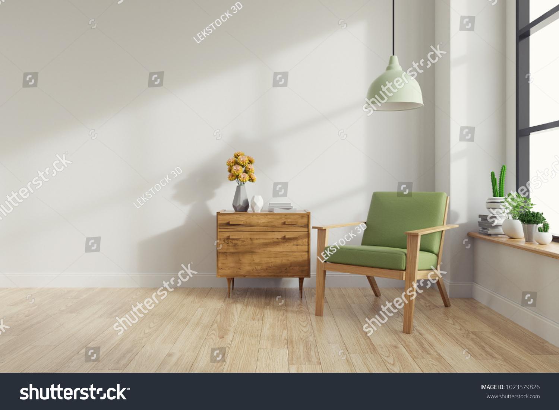 Modern Mid Century Vintage Interior Living Stock
