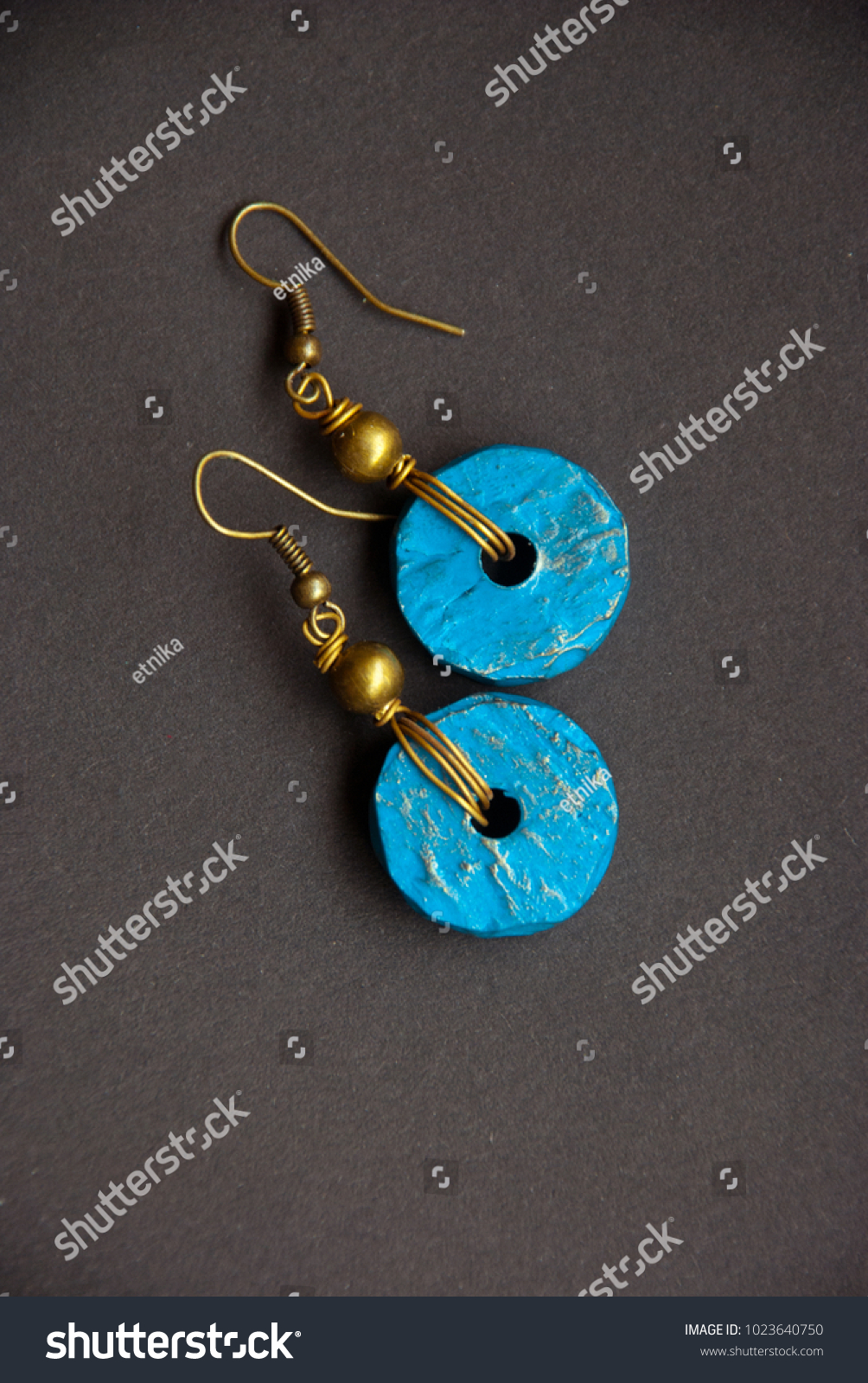 Handmade Bronze Wire Wrapped Earrings Turquoise Stock Photo (Royalty ...