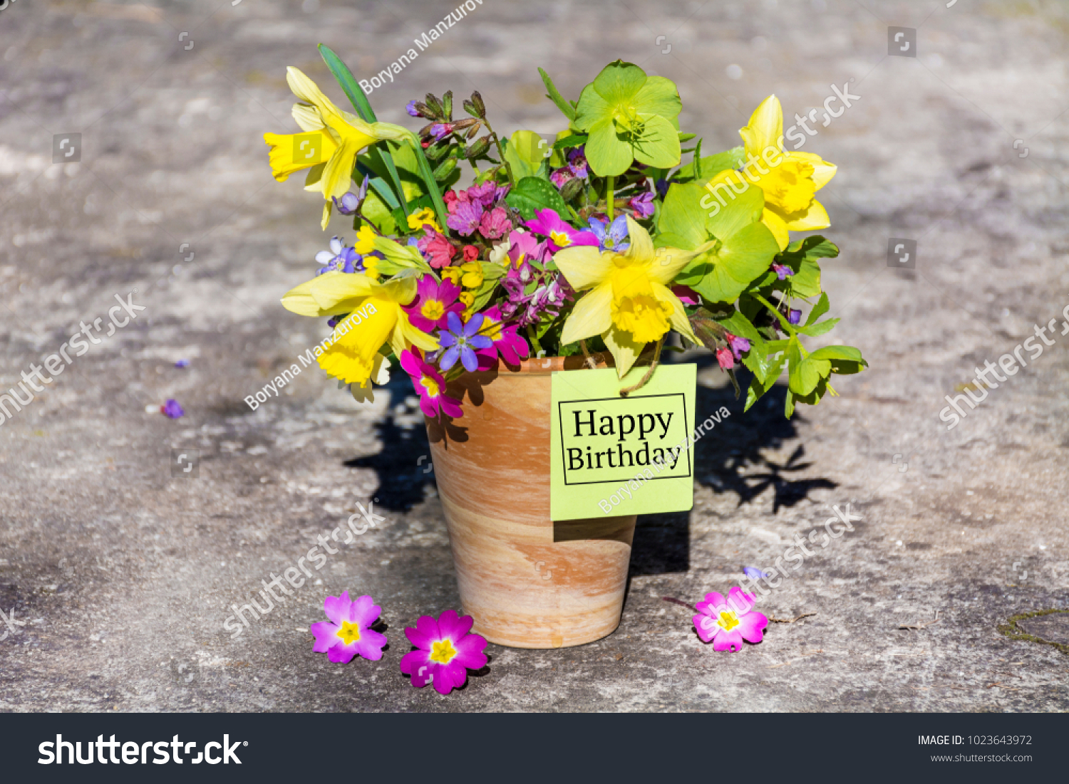 Happy birthday greeting card spring flowers stock photo edit now happy birthday greeting card with spring flowers bouquet and tag izmirmasajfo
