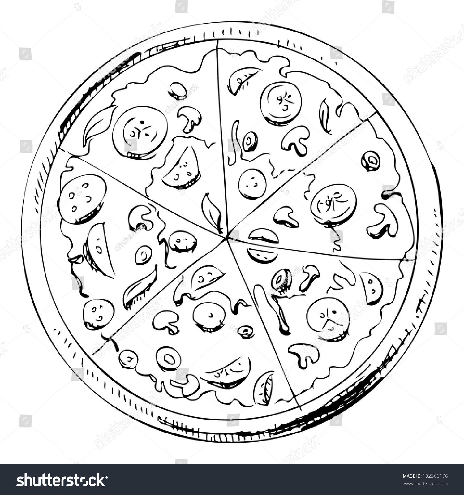 Sliced Pizza Isolated On White Background Stock Vector 102366196 - Shutterstock