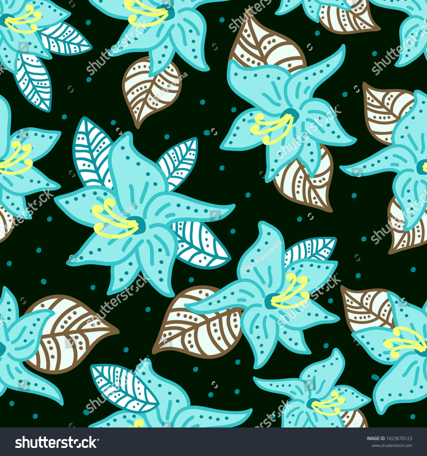 Floral pattern large blue flowers similar stock vector royalty free floral pattern with large blue flowers similar to lilies on dark purple background izmirmasajfo