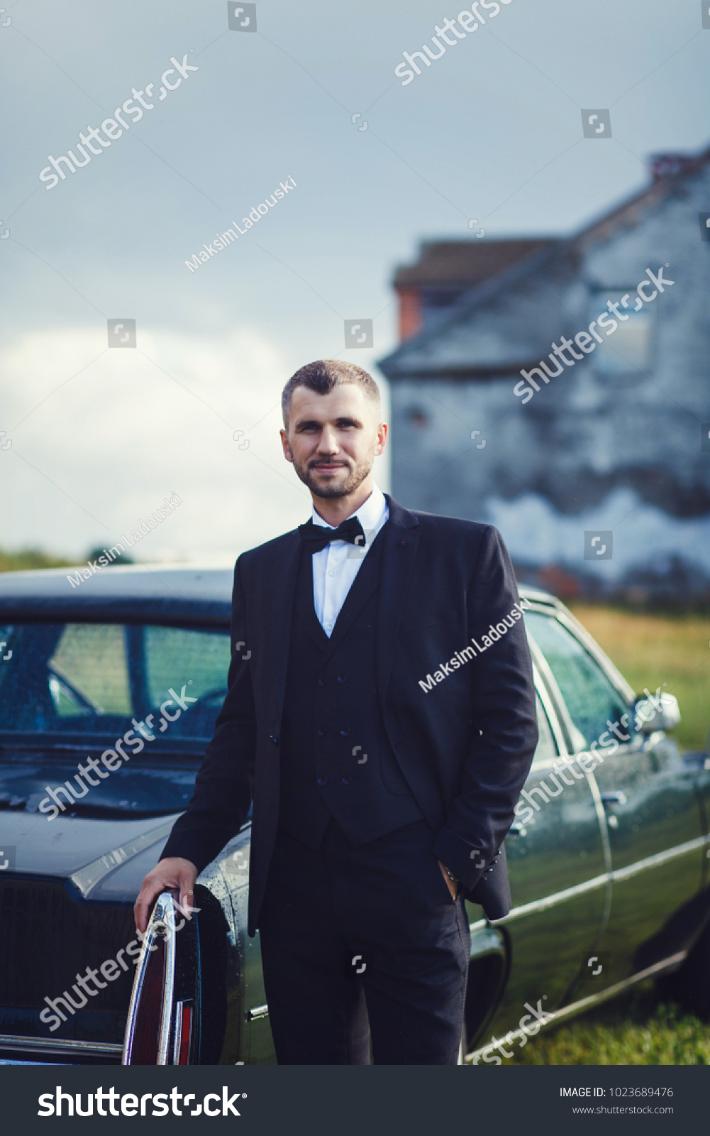 Groom Wedding Tuxedo Smiling Waiting Bride Stock Photo (Royalty Free ...