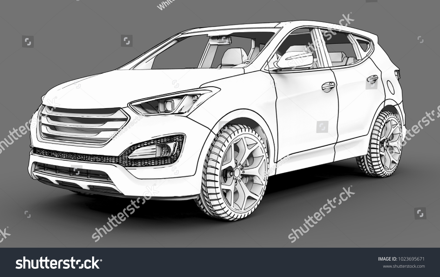 Compact City Crossover White Color On Stock Illustration 1023695671 Schematic A Gray Background Monochrome Image With Shadows