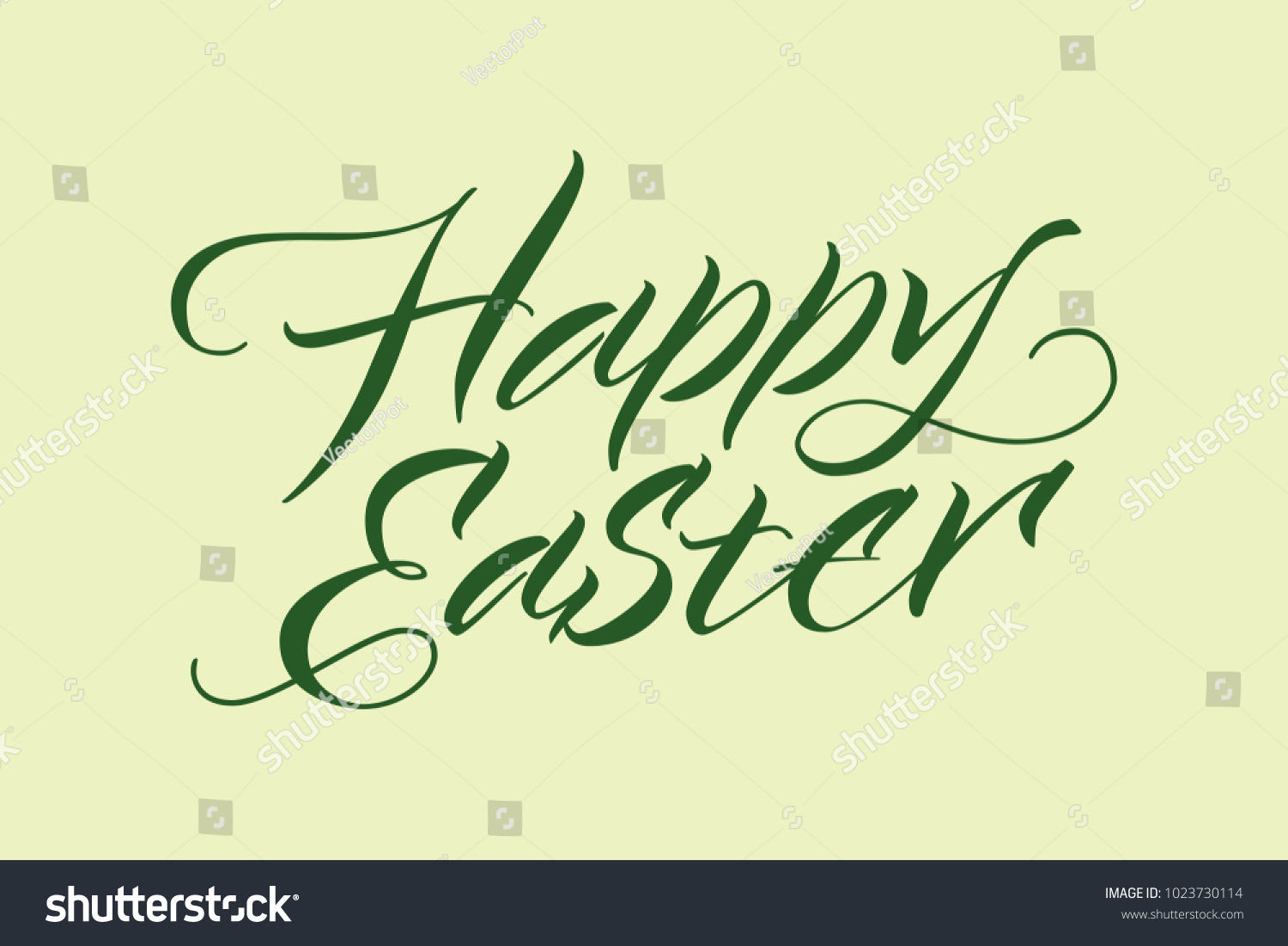 happy easter inscription typographic template with green handwritten