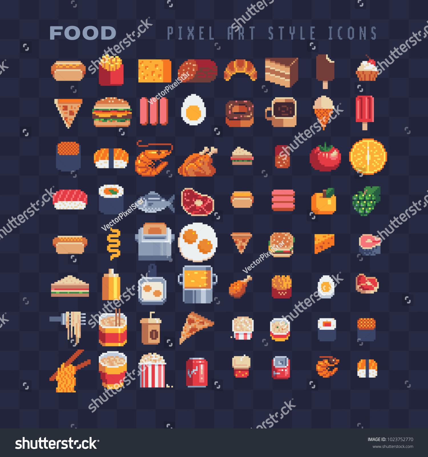 Image Vectorielle De Stock De Nourriture Pixel Art 80s