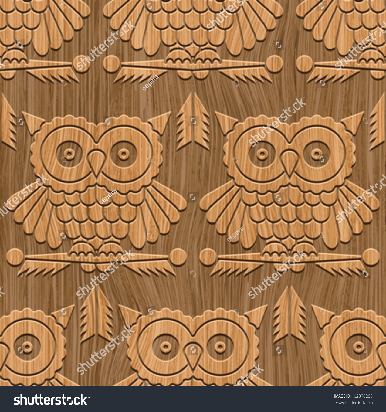 Abstract decorative wooden carving textured owls stock